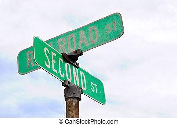 intersección, muestra de la calle