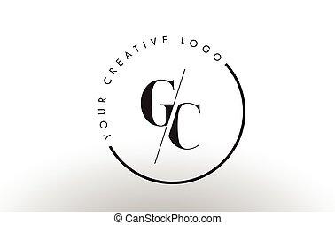 intersected, cut., créatif, empattement, gc, lettre, logo, conception