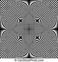 Intersected spyral trajectory chess butterfly illusion abstract background black on transparent