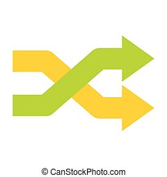 Intersecting arrows icon in flat style isolated on white...