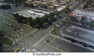 Intersection birds-eye day to night