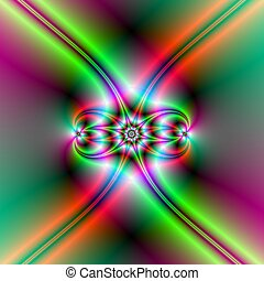Computer generated fractal image with an abstract star design in red and green neon colors.