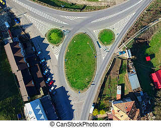 intersection of road in rural landscape. aerial view