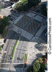 Intersection of street in downtown Sao Paulo