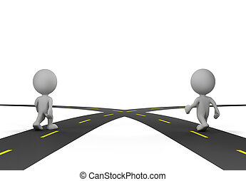 Two people at the crossroads. 3d image. White background.