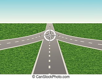 Intersection on the highway with compass