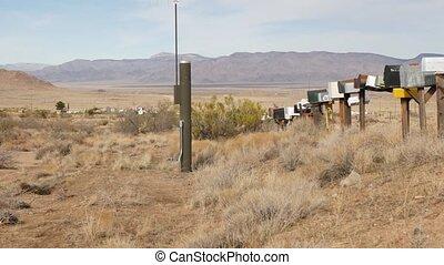 intersection, postbox, touriste, boîtes, goutte, désert, ...