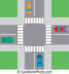 View of the intersection with pedestrian crossings top View of the intersection with pedestrian crossings top