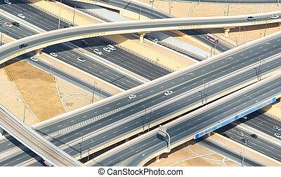 intersections, aérien, route, vue