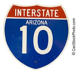 Interstate 10 Arizona road sign isolated