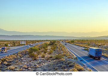 Interstate 10 direction Blythe in sunset - Interstate 10...