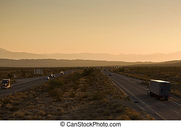 Interstate 10 direction Blythe in sunset