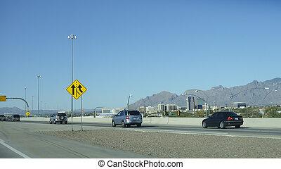 Cross country Interstate-10 running near Tucson downtown, Arizona