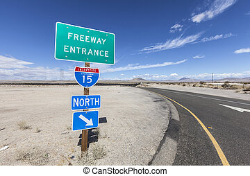 Interstate 15 On Ramp Sign in the Mojave Desert