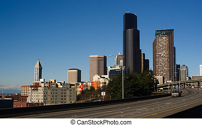 Interstate 5 Highway Cuts Through Downtown Seattle Skyline