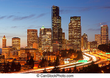 Interstate 5 & Seattle - Dusk appearss as Inerstate 5...
