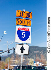 Interstate 5 South Detour Sign