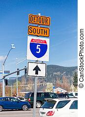 Interstate 5 South Detour Sign