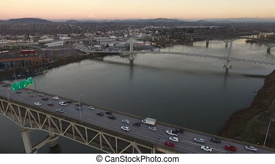 Interstate 5 Willamette River Portland Oregon Waterfront...