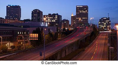 Interstate 705 City Center Tacoma Washington Skyline ay Dusk...