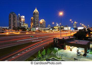 Midtown Atlanta - Interstate 85 runs below the skyline of...