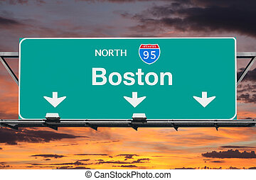 Interstate 95 North to Boston Highway Sign with Sunrise Sky