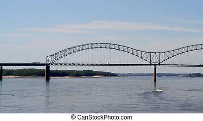 Interstate Bridge Memphis - Traffic moves across the...