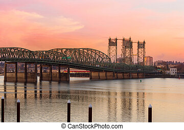 Interstate Bridge Over Columbia River at Sunset