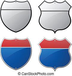 interstate, en, snelweg, tekens & borden