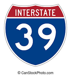 Interstate highway 39 road sign