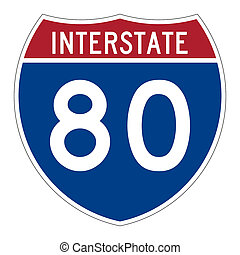 Interstate highway 80 road sign