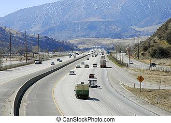 Interstate Highway in mountainous region in California
