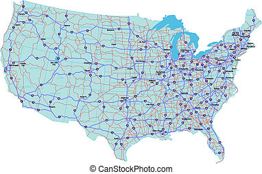 Interstate Map of the United States - Interstate Map of the...