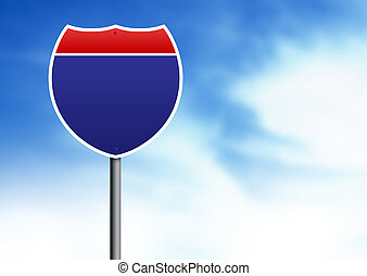 U.S. Interstate road sign on cloud background.