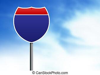 Interstate Road Sign - U.S. Interstate road sign on cloud ...