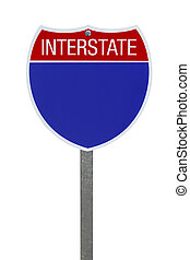 Interstate Sign - Blank Blue Interstate Highway Sign...