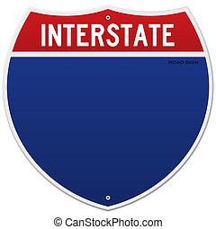 interstate, vrijstaand, meldingsbord