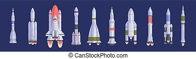 interstellaire, aérospatial, spacecrafts, illustrations, ...