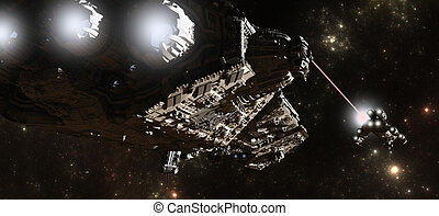 Interstellar Battleship Chase - Science fiction battleship...