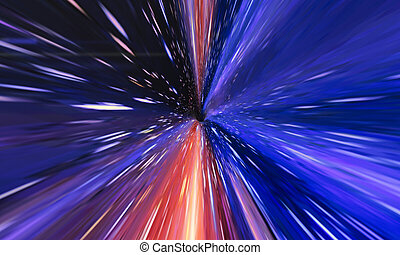 Interstellar, time travel and hyper jump in space. Flying through wormhole tunnel or abstract energy vortex. Singularity, gravitational waves and spacetime concept