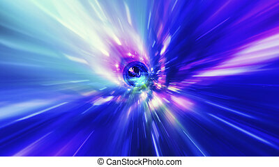 Interstellar, time travel and hyper jump in space. Flying through wormhole tunnel or abstract energy vortex. Singularity, gravitational waves and spacetime concept.