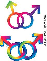intertwined, alegre, género, ilustración, símbolos, macho