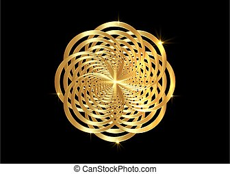 intertwined gold mandala. Global Powers of Luxury Goods. Golden flower precious logo design, vector isolated on black background