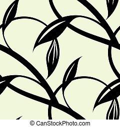 intertwining, padrão, contínuo, pretas, vines.
