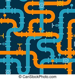 Intertwining pipelines vector seamless pattern in flat style.
