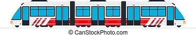 interurbain, plat, vecteur, isolé, train, vitesse