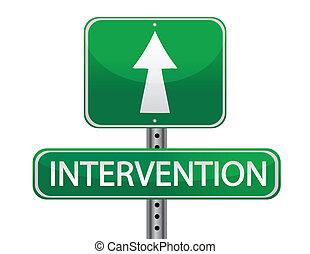 intervenção, conceito, sinal rua