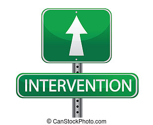 intervention street sign concept illustration isolated over white