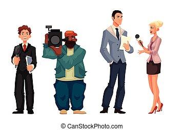 interviewé, journaliste, opérateur, femme, journaliste, beau