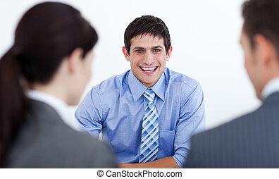 interview, arbeit, haben, geschäftsmenschen